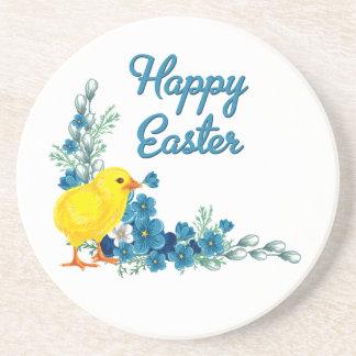 Pascua feliz con un polluelo del bebé posavasos manualidades
