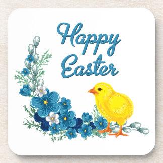 Pascua feliz con un polluelo del bebé posavasos de bebida