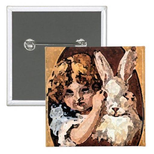 ¡Pascua feliz!  Conejito retro Pin Cuadrada 5 Cm
