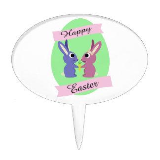 ¡Pascua feliz! Conejitos lindos Palillos De Tarta