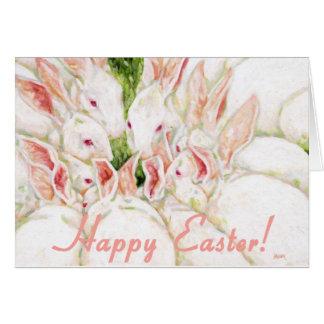 Pascua feliz - conejos blancos tarjeta de felicitación