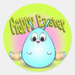 Pascua feliz de giggleBunny Pegatinas Redondas