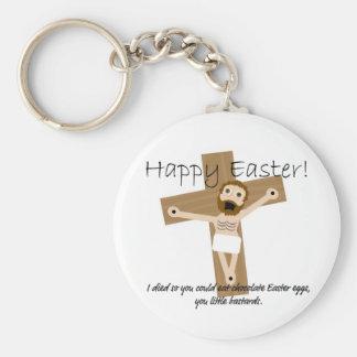 Pascua feliz de Jesús enojado Llaveros
