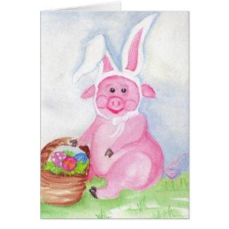 Pascua feliz de la tarjeta del cerdo de Pascua