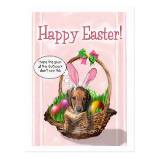 Pascua feliz de un perrito de Doxie Postal
