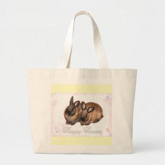 Pascua feliz del conejito de pascua con los rosas bolsa tela grande