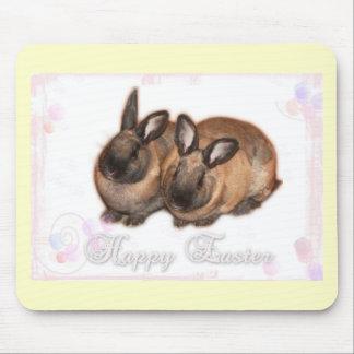 Pascua feliz del conejito de pascua con los rosas tapete de ratón