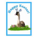 Pascua feliz del ganso w/Basket de Pascua Postales