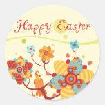 Pascua feliz embroma la muñeca etiquetas redondas