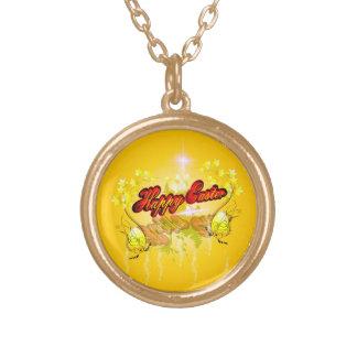 Pascua feliz en fondo suave del yelow joyeria personalizada