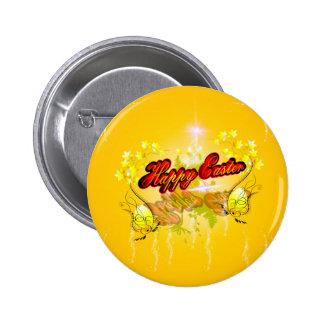 Pascua feliz en fondo suave del yelow pin