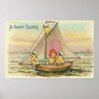 Pascua feliz en un vintage del velero poster