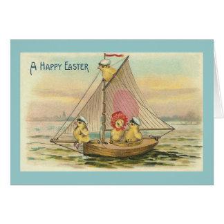 Pascua feliz en un vintage del velero tarjeta pequeña