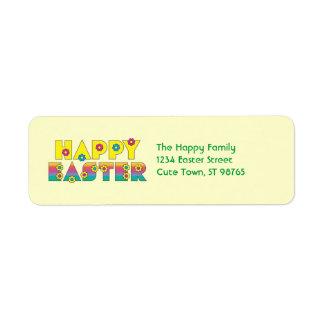 Pascua feliz etiqueta de remitente
