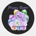 Pascua feliz etiqueta redonda