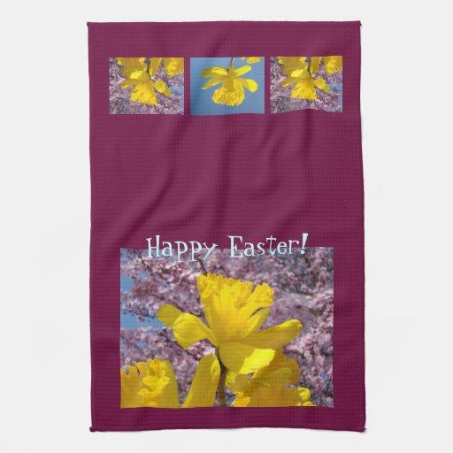 ¡Pascua feliz! flores del narciso de las toallas d