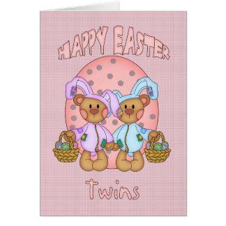 Pascua feliz - gemelos - oso de peluche lindo en tarjeta de felicitación