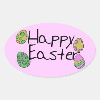 Pascua feliz calcomanía de óval