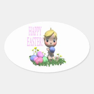 Pascua feliz pegatinas óval personalizadas