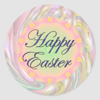 Pascua feliz etiquetas redondas