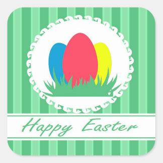 Pascua feliz pegatina cuadrada