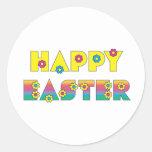 Pascua feliz pegatina redonda