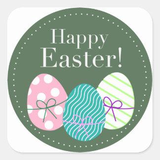 Pascua feliz pegatinas cuadradas
