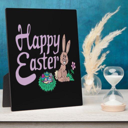 Pascua feliz placa de plastico
