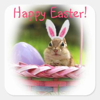 Pascua feliz poco Chipmunk Calcomanía Cuadradas