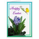 Pascua feliz - polluelo y jacinto púrpura felicitación