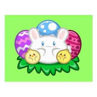 Pascua feliz: Postal del conejito y de los polluel