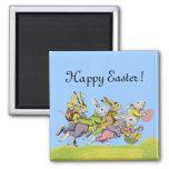 Pascua feliz que funciona con conejos en colores p imanes para frigoríficos