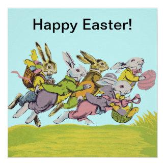 Pascua feliz que funciona con conejos en colores perfect poster