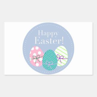 Pascua feliz rectangular pegatinas