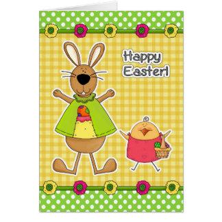 Pascua feliz Tarjetas del conejito y del polluelo
