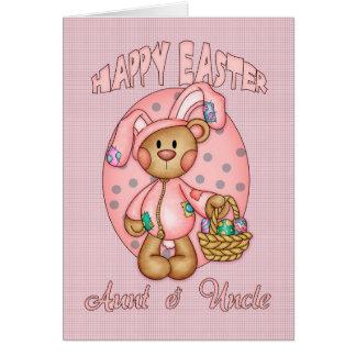Pascua feliz - tía y tío - oso de peluche lindo en tarjeta de felicitación