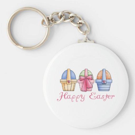 Pascua feliz tres camisetas y regalos de las cesta llaveros personalizados