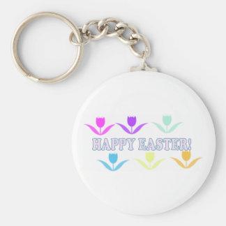 Pascua feliz Tulips-3 Llavero Redondo Tipo Pin