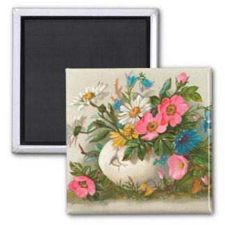 Pascua florece arte floral del vintage fino imán cuadrado