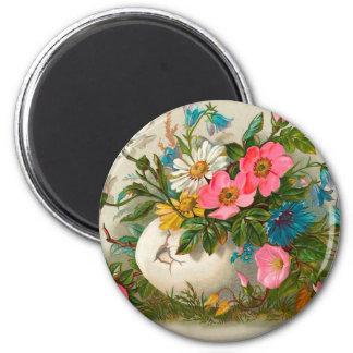 Pascua florece arte floral del vintage imán redondo 5 cm