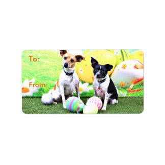 Pascua - fox terrier - Sadie y Baboo Etiquetas De Dirección