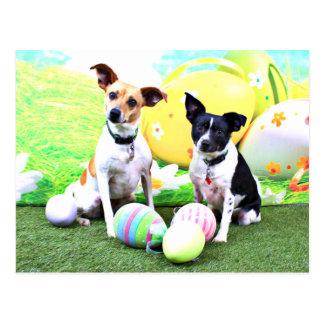 Pascua - fox terrier - Sadie y Baboo Tarjeta Postal