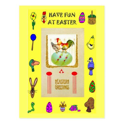 Pascua - gallinas en un huevo verde postal