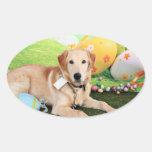 Pascua - golden retriever - Augie Pegatina Oval Personalizadas