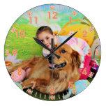 Pascua - golden retriever - haz relojes de pared