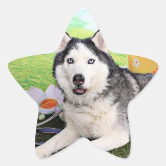 Pascua - husky siberiano - Luka Pegatinas Forma De Estrella