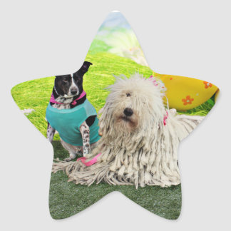 Pascua - Komondor - Zoey - Basenji X - jaspe Pegatina Forma De Estrella