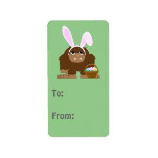 Pascua linda Bigfoot Etiquetas De Dirección