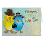 Pascua - para los ambos usted - polluelos vestidos tarjetas