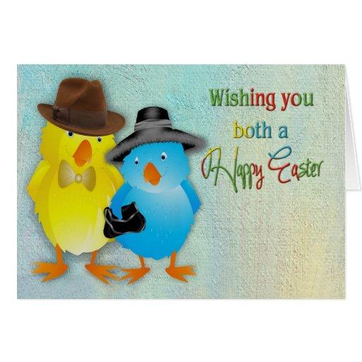 Pascua - para los ambos usted - polluelos vestidos tarjeta de felicitación